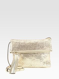 #Anya Hindmarch - Huxley Woven Fold-Over Convertible Clutch/Halo