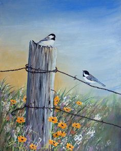 Chickadee Painting - Meeting At The Old Fence Post by Dee Carpenter