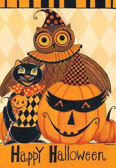 Halloween Party Primitive Garden Flag Owl Black Cat Jack o'Lantern x Halloween Home Decor, Halloween House, Holidays Halloween, Vintage Halloween, Halloween Crafts, Happy Halloween, Halloween Decorations, Halloween Stuff, Halloween Queen