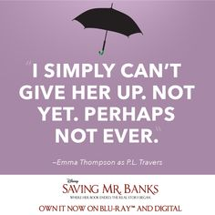 """You don't know what she means to me."" Relive all the magic of #SavingMrBanks now on Blu-Ray and Digital HD."