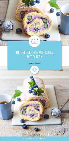Nicht ganz klassisch, aber frisch und sommerlich! Unsere Heidelbeer-Biskuitrolle mit Quark! #heidelbeer #biskuitrolle #quark #sommertorte #heidelbeerkuchen #heidelbeertorte #backen #sommer