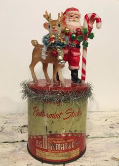 Handcrafted OOAK Vintage Christmas Buttermint Candy Tin Can Santa Reindeer Candy Cane Assemblage Decoration Ornament Repurposed Decor Gift by JVintiqueDesigns on Etsy