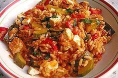 Mediterrane Zucchini - Reis - Pfanne mit Feta - My list of the most healthy food recipes Crock Pot Recipes, Rice Recipes, Veggie Recipes, Salad Recipes, Vegetarian Recipes, Dinner Recipes, Healthy Recipes, Vegetarian Lifestyle, Snacks Recipes