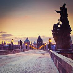 Charles Bridge at sunrise in winter Prague Czech by cooperativ, $25.00