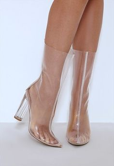 Amy+Clear+Perspex+Heeled+Boot