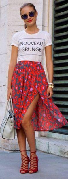 Floral Summer Skirt Edgy Boho