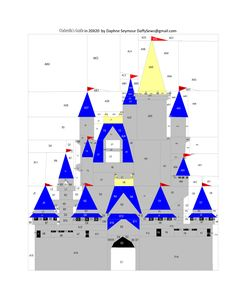 """Cinderella's Castle by Daphne Seymour Tested by Amanda Vargas 20"""" x 20"""" Paper Pieced   """"A free paper pieced (or embroidered or whatever) pattern from fandominstitches.com"""