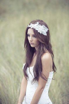 Bohemian Bridal Swarovski Crystals  Lace Flowers by BrideLaBoheme, $180.00