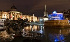 World Autism Awareness Day 2015 Trafalgar Square has lit it's fountain in blue in honor of it. April 2 2015
