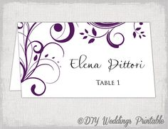 place card template Eggplant Scroll name by diyweddingsprintable, $8.00