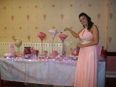 Birthday Girl Claire with her Pink & White Candy Buffet Our Little Sister, Little Sisters, Prom Dresses, Formal Dresses, Candy Buffet, Candies, Girl Birthday, Claire, Pink White
