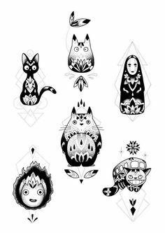 the top totoro Tatuaje Studio Ghibli, Studio Ghibli Tattoo, Studio Ghibli Art, Tattoo Studio, Body Art Tattoos, Small Tattoos, Aquarell Tattoos, Ghibli Movies, Hayao Miyazaki