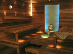 The sauna at my future house Day Spa Decor, Sauna Lights, Modern Saunas, Future House, My House, Portable Sauna, Sauna Design, Finnish Sauna, Sauna Room