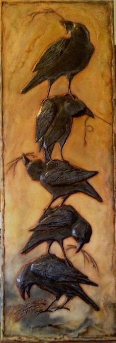 Diane Kleiss sculpted encaustic, crow stack, totem, black and orange Crow Art, Raven Art, Bird Art, Totems, Quoth The Raven, Jackdaw, Crows Ravens, Encaustic Painting, Spirit Animal