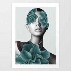 Floral Portrait (woman) Art Print
