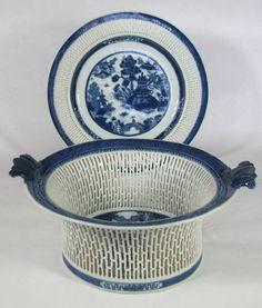 Antique Chinese Export Porcelain Pierced Fruit Bowl Plate Canton Blue White | eBay
