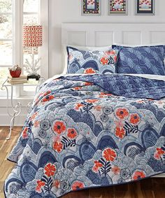 Blue comforter against white walls and hardwood floors- perfection...