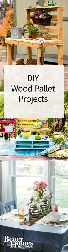 You can do so many DIY projects with wood pallets! We show you 12 easy DIY weekend projects that all use a simple wood pallet. Our project ideas include indoor and outdoor decor such as a wood pallet table and garden trellis to display your summer flowers Old Wood Projects, Wooden Pallet Projects, Wood Pallet Tables, Pallet Furniture, Recycled Pallets, Wooden Pallets, Unique Home Decor, Home Decor Items, Palette Diy