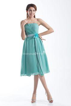 Strapless Straight Neck Aqua Chiffon Knee Length Bridesmaid Dress at Bridesmaiddesigners.com