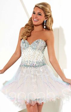 Hannah S 27911 Beaded Cheap Cotton Candy Strapless Short Tulle Bodice Homecoming Dresses