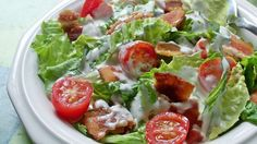 Crumbly bacon, chopped tomato, shredded lettuce and a  creamy dressing with a hint of garlic - this chopped salad has BLT down pat.