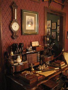 My footprints on the Paths: Sherlock Holmes (名侦探 - 福尔摩斯) - Part 2 Victorian Decor, Victorian Homes, Sherlock Holmes, Miniature Rooms, Man Room, Cozy Nook, Gothic House, Home Wallpaper, Office Decor
