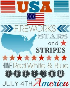 of July free printable subway art. Red, white and blue subway art print for USA (America). With stars and stripes to make it colorful and decorative. 4th Of July Party, Fourth Of July, 4 July Usa, Wooden American Flag, Party Fiesta, Gift Wraping, Subway Art, Free Printables, 4th Of July