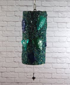 Vintage 60's Acrylic Swag Lamp, Ceiling Pendant Light // Blue and Green Lucite Lava Rock // Retro Mid Century Atomic