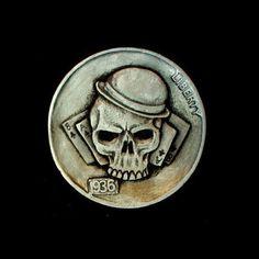 Skull Nickels - Hobo Nickels (skull coins, 7 images)> Design and such film / photographic art Netzkram, Sculptures> buffalo nickel, coins dough, money, dime, muenzen hobo, nickels