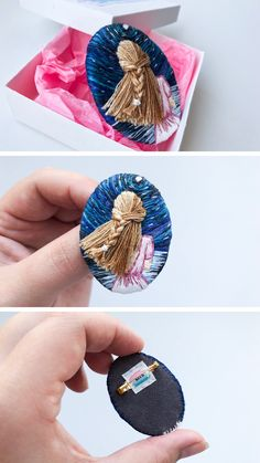 photographing Embroidery art Etsy brooch handmade gift for her embroidery hair starry night night sea princess queen brooch Flower Embroidery Designs, Embroidery Jewelry, Hand Embroidery Designs, Beaded Embroidery, Embroidery Patterns, Galaxy Jewelry, Handmade Gifts For Her, Techniques Couture, Fabric Jewelry