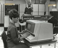 Computer in the 60s, with probably an 8 inch hard drive. No color on the screens either, black with white script. Usually noisy too.
