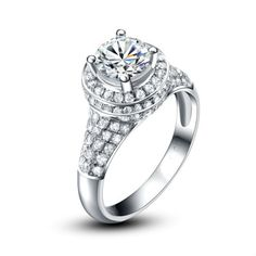 Price starts from $5,094 to $5,430.00 Choose to propose with a unique design of a 1.16ct White Gold Engagement Ring. The ring has 1 central diamond  total weight 0.80ct. & 120 Brilliant Diamonds   Around the central stone and all over this sublime ring adorns 120 brilliant diamonds total carat 0.36 ct.   The clarity of the diamonds is SI and the color is H, in a very good cut The total gold weight of the ring starts approx. from 4g. The width is 3mm.