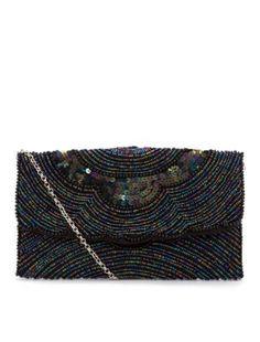 Black Beaded Art Deco Style Scallop Clutch