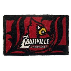 """Louisville Cardinals Welcome Mat by Team Sports America. $34.99. Each mat features your favorite team's logo and a unique design that is featured in full color. Made of 100% coconut coir. Our large 18"""" x 30"""" team logo welcome mats have been uniquely crafted by skilled Indian artisans using centuries of old traditional methods. Enviromentally safe product. These licensed team logo mats are wholly natural products and are fully bio-degradable. NCAA Louisville Ca..."""