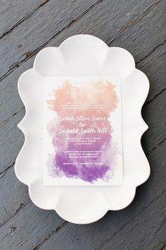 Ombre Purple Wedding Invitation - featured on Ruffled & Brides magazine blogs. $3.00, via Etsy.