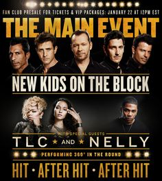 May 30 at 7:00 PM New Kids On The Block are stepping into the ring for 2015! The pop phenoms stopped by Good Morning America to announce THE MAIN EVENT, a summer headlining tour featuring very special guests, Grammy Award-winning and multi-platinum selling artists TLC and Nelly. NKOTB surprised viewers with a special reveal of TLC and a personal message from Nelly (who is currently overseas with the armed forces).