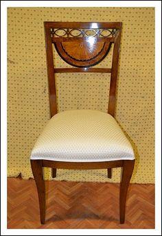8 sedie in acero intarsiate in bosso e legno ebanizato gambe a sciabola traforato sullo schienale lucidatura a tampone perfette mis 50x50 h 94