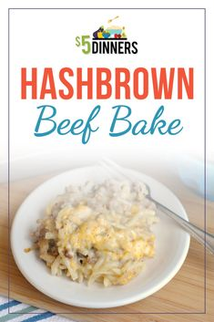 A delicious, freezer friendly hashbrown beef bake - perfect recipe for meat and potatoes lovers! Also, slow cooker and keto versions of the recipes incoded. Beef Casserole Recipes, Casserole Dishes, Meat Recipes, Cooking Recipes, Healthy Recipes, Hamburger Recipes, Recipies, Hamburger Casserole, Freezer Cooking