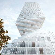 Rotterdam architecture firm MVRDV designed a mixed-use skyscraper with a twisted base for Vienna. Rotterdam Architecture, Amazing Architecture, Interior Architecture, Futuristic Architecture, Contemporary Architecture, Parametric Architecture, Interior Design, Jenga Tower, Win Competitions