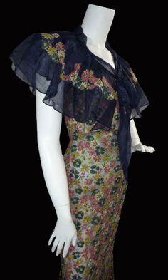 1930s Bias cut silk chiffon dress | par dovima2010