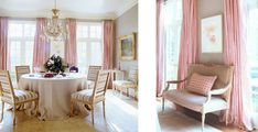 feminine dining room round table beige pink drapes silk chandelier