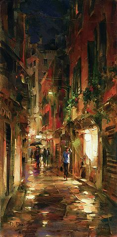 """Street at Night"""""""" by Dmitri DanishEmbellished Giclee on CanvasCanvas size 30""""""""h x 15""""""""w Great painting of Venice, Italy street at night"""