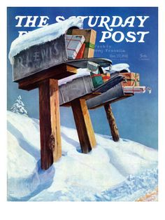 Mailboxes in Snow, Saturday Evening Post Cover, December 27, 1941 by Miriam Tana Hoban