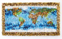 World Map - button sculpture by Augusto Esquivel
