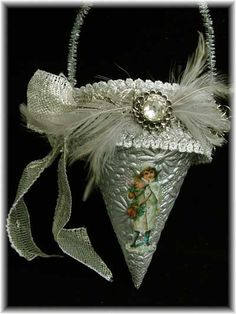 vintage paper cones | cone is made from a silver embossed paper, and has wonderful vintage ...