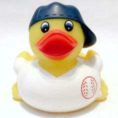 """If you love the sport of Baseball, then you will love our Rubber Baseball Duck! Get your team into spirit by celebrating with this rubber duck today! Measurements: 3 1/2"""" x 3 3/4"""" x 3 1/2"""" Our rubber"""