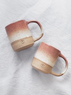 Speckled Large Mug - Salmon & White
