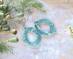 Blue green boho earrings, modern rustic hand sculpted clay earrings, ceramic statement ethnic earrings