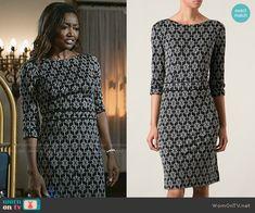 Daisy's black geometric printed dress on Madam Secretary.  Outfit Details: http://wornontv.net/52932/ #MadamSecretary