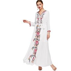 Embroidered Tape Trim Symmetric Flower Print Casual Dress White V Neck Long Sleeve Belted Maxi Dress